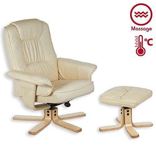 Relaxsessel COMFORT inklusive Wärme und Massagefunktion, Fernsehssessel Massagesessel mit Hocker in beige/cremeweiß