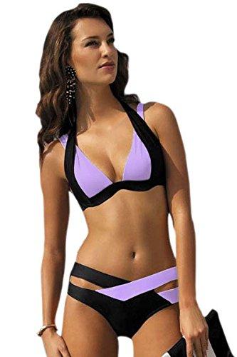 Fortuning's JDS Reizvoller aufgefüllter Halter-Ansatz-Bikini tiefer V-Ansatz zweiteiliger Badeanzug Violett