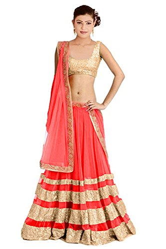 Vastra fasion Women\'s Cotton Lehenga Choli - VF Gray Sequance_Pink_Free Size