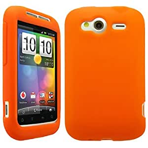 impexo HTC Wildfire S Case Cover Skin Pouch Shell Plain Unbreakable Silicone Gel-Orange