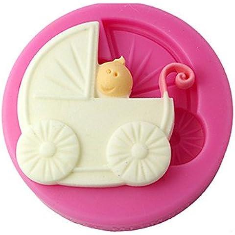 Y&XL&H quattro c muffa del bigné silicone carrozzina fondente, decorazione della torta, attrezzi fondente decorazione delle forniture di colore rosa