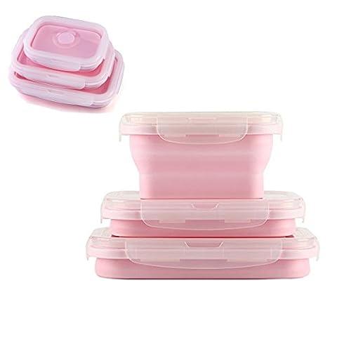 Tpocean Lot de 3(300Ml, 500ml, 800ml) pliable empilable Coque en silicone à nourriture micro-ondes congélateur récipient Boîte à lunch Ensemble de fruits Plus rose