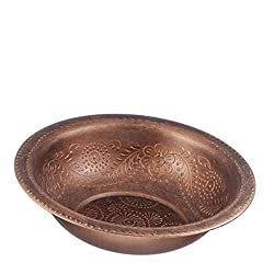 Netila 56837 Stainless Steel Washing Bowl with Embossed Copper Antik
