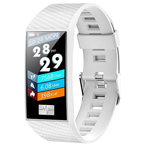 MIJNUX Schermo a Colori Braccialetto Intelligente, IP68Waterproof Fitness Trackers con Sonno frequenza cardiaca MonitorWeather Infos spingendo SmartWatch per Android iOS,White