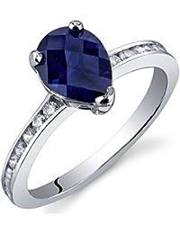 Revoni Bague Femme - Argent fin 925/1000 - Saphir Bleue 1.50 ct - Oxyde de Zirconium