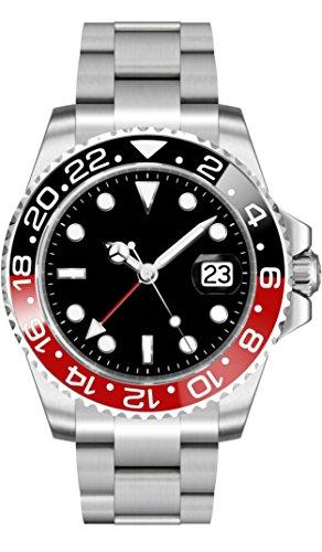 PARNIS 2034/9102 GMT BLACK & RED Herren-Automatikuhr Edelstahl-Gehäuse Edelstahlarmband Faltschließe Saphirglas Drehlünette Aluminium-Einlage 5 Bar wasserdicht