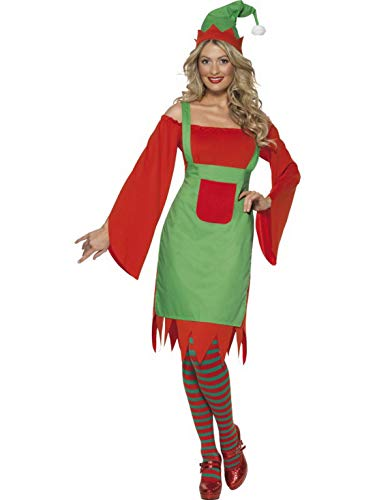 Kobold Kostüm Niedliche - costumebakery - Damen Frauen Kostüm Niedlicher Kobold Elf, Schulterfreies Kleid mit grüner Schürze und Hut Mütze, perfekt für Weihnachten Karneval und Fasching, L, Rot
