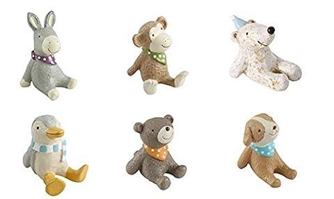 Set of 6 Cute Rhinestone Animal Figurines Office Desk Decor (Color may Vary)