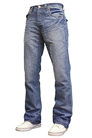 APT Mens Designer Branded Basics Regular Fit Bootcut Jeans, 28