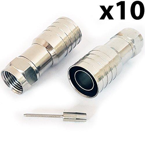 Cablefinder 10x PRO Outdoor CT165/wf165F-Stecker männlich Hex Crimp Stecker Stecker-Dickes Koax-Kabel - Hex-crimp-f-stecker