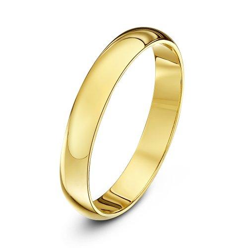 Theia anello nuziale unisex in oro giallo 9k (375), super pesante, a forma di d, lucido, 3mm - misura 21