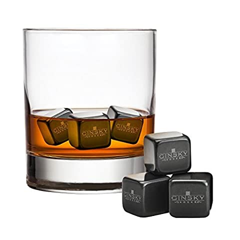 Premium Whisky Cubes - Jet Black – 6 Reusable Granite Whisky Stones – Simply Place the rocks in the Freezer – Inclusive Wooden Gift Box & Free Velvet