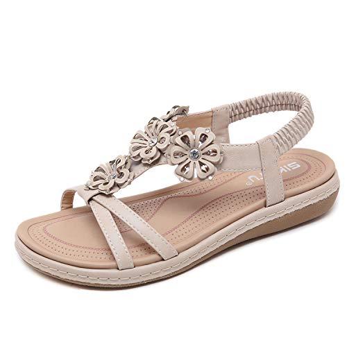 Sandali Donna, Moda Donna Dolce in Rilievo Clip Toe Flats Bohemian Herringbone Sandali Taglia EU 42 Albicocca