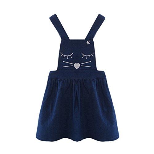 Vovotrade El niño pequeño Embroma la niña Gato Mezclilla Impresión Vestido de Princesa Sin Mangas Mono Vaquero Vestidos 3-10 años (Altura:100cm, Auzl)