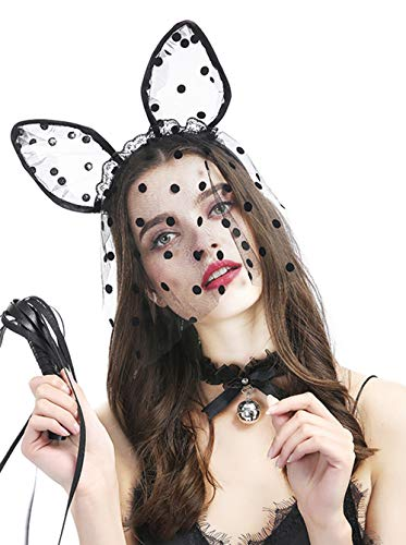 (fxmimio Spitze Lolita Schwarz Schleife Bell Choker Halsband Halskette für Frauen Mädchen Halloween Zubehör)