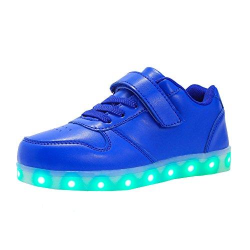 VOOVIX Kinder Schuhe mit Licht Led Leuchtende Blinkende Low-top Sneaker USB Aufladen Shoes für Mädchen und Jungen(Blau,EU37)