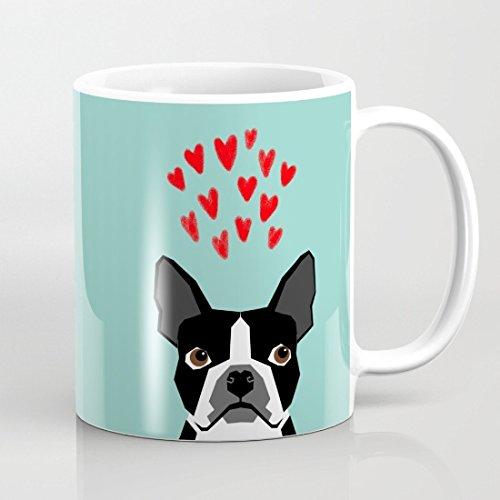 Boston Terrier cuori Cute Funny Dog Cute aalentines Cane animali domestici Cute Dog Love Tazze divertente regalo di compleanno per le donne Inspirational Tazza Regalo Per Amico-Novelty Tazza per la mamma 11oz