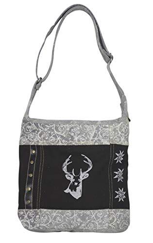Sunsa Domelo Dirndl Tasche Umhängetasche Oktoberfest Damen Accessories klein Trachtentasche mit Hirsch Kleine Geschenke für Teenager Mädchen Crossbody bag Vintage Retro Handtasche schwarz aus Canvas