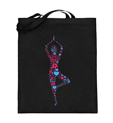 ibelius Yoga - Jutebeutel (mit langen Henkeln) -38cm-42cm-Schwarz