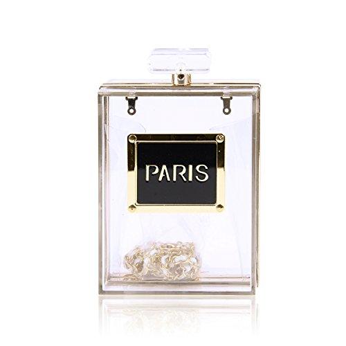 EVEOUT Frauen Acryl Schwarz Paris Parfüm Form Abendtaschen Geldbörsen Clutch Vintage Bankett Handtasche für Damen (Handtasche Vintage Paris)