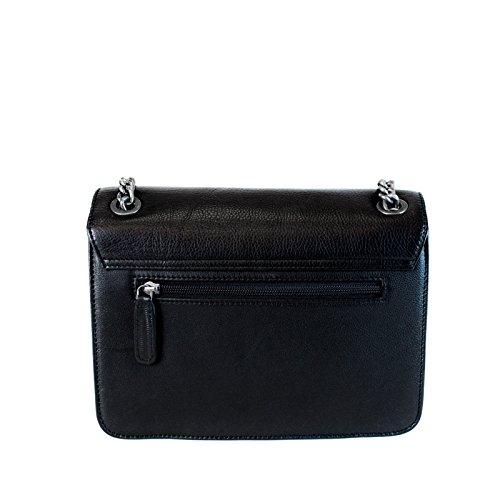 manbefair Clutch Janice in Chains, Fair Trade Damentasche, Abendtasche, Ledertasche, Schultertasche, Handtasche 25x17x7 cm (BxHxT) Schwarz