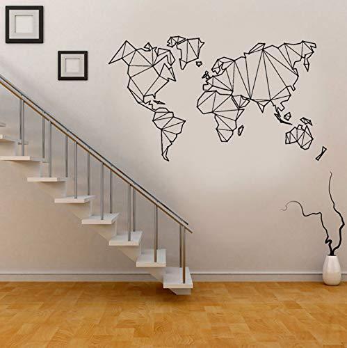 Pbldb 73X42 Cm Mapa Abstracto Mundo Geografía Tierra Pegatinas Negro Vinilo Tatuajes De Pared Náutica Decoración Para El Hogar Salón Papel Tapiz Autoadhesivo