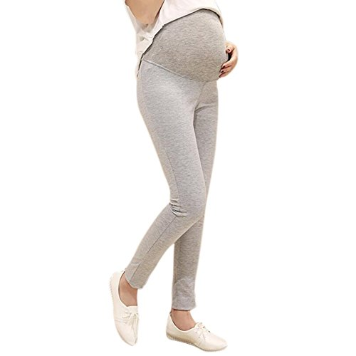 Highdas enceinte Belly Femmes Prop Leggings Haute Elasticité taille réglable maternité long tricot Pantalons pour Printemps Automne Gris