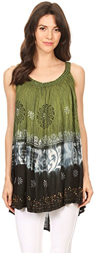 Sakkas Cecily Crinkle Réservoir de Batik Floral avec Sequins et Broderie Vert
