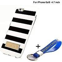 Carcasa de TPU para iPhone 6, diseño de rayas de Victoria Secret, color blanco y negro