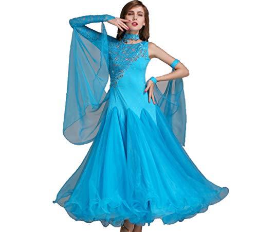 dernes Tanzkleid Für Frauen National Standard Ballsaal Tanz Outfit Spitzennähte Tango Walzer Übungsrock Tüll-Schaukel,A,S ()