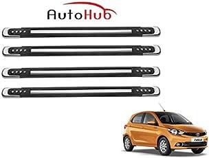 Auto Hub Rubber Chrome Car Bumper Guard/Protector for Tata Tiago - Black
