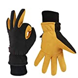 OZERO Thermal Gloves, Mens & Womens Deer Leather Winter Gloves for Cycling and Running