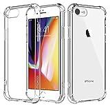 MoKo Compatible con iPhone 8/7 Funda, Avanzado Choque-Absorbente Anti-Rasguño Cubierta con Transparente Duro PC Trasera y Flexible TPU Parachoques de Gel para Apple iPhone 8/7, Cristal Claro