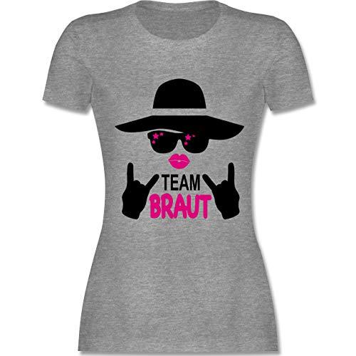 JGA Junggesellinnenabschied - Rocker Team Braut - schwarz - XXL - Grau meliert - L191 - Damen Tshirt und Frauen T-Shirt