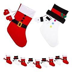 Idea Regalo - Confezione da 9calze di natale a stivaletto, rosso e bianco con Babbo Natale e pupazzo di neve