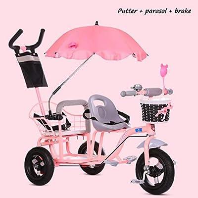 BABY STROLLER ZLMI Cochecito de bebé Gemelo Dos Doble Ajustable Bicicleta de Tres Ruedas 1-6 años de Edad,Pink,C