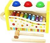 Toys of Wood Oxford Gioco con Martello in Legno, Palline e Xilofono - Martello Giocattolo e Tastiera Musicale, Xilofono per Bambini - Gioco Musicale in Legno per Bambini di 3 Anni