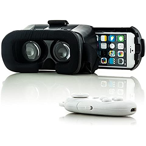 Saxonia VR Box Realidad Virtual Gafas 3D + Bluetooth Controlador Blanco para Apple iPhone 4 4S 5 5S 5C 6 6S Plus | Universal Visor Virtual Reality Video Juegos