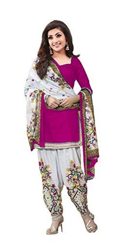 Clickedia Women\'s American Crepe Printed Pink White Patiala Suit- Dress Material
