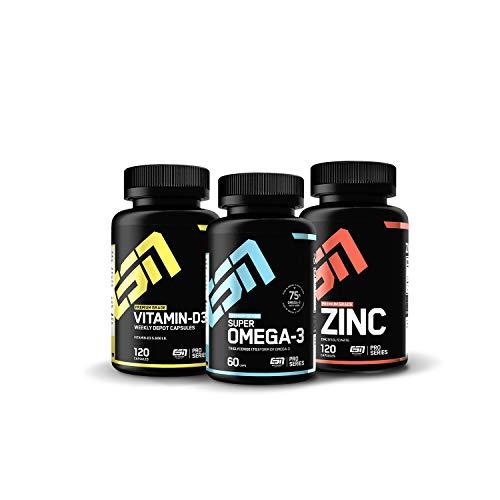 ESN Vitamine Pack, Zink 25mg-120 Kapseln, 75% Omega-3 Fettsäuren in 60 Kapseln und natürliches Vitamin D3 in 120 Kapseln. Hohe Bioverfügbarkeit und hergestellt in Deutschland