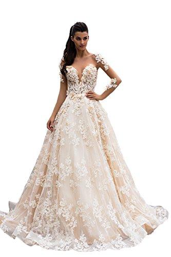 NUOJIA Prinzessin Spitze Hochzeitskleider Offener Rücken Champagner Brautkleider Lange ärmel 40 (Günstige Cinderella Brautkleider)