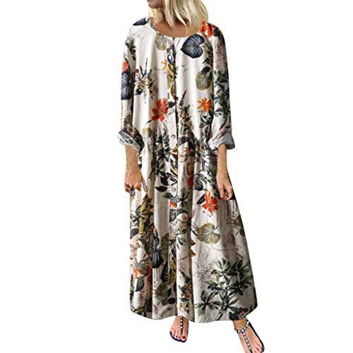 Ncenglings Damen Kleider Herbst Vintage Dress Sexy Blumendruck Maxikleider Mode Lange Ärmel Röcke Casual Rundhals Cocktailkleid Elegante Langes Strandkleid Lose Freizeitkleid große größen -