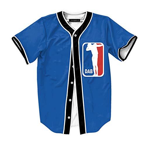 Raylans Camisa de béisbol de Manga Corta con Botones y Estampado Floral Digital 3D Casual para Hombre, Hombre, BRT-MC011-Color4-2XL, Color4, UK XL(Tag 2XL)