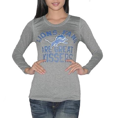 Pink Victoria's Secret femmes NFL Detroit Lions Slim Fit manches longues T Shirt / T - Gris (taille: L)