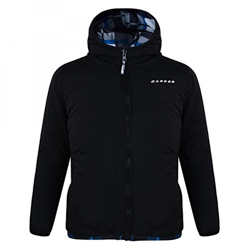 Boys Insulated Hooded Jacket (Dare2b Boys Shatter Reversible Polyester Insulated Hooded Jacket Black)
