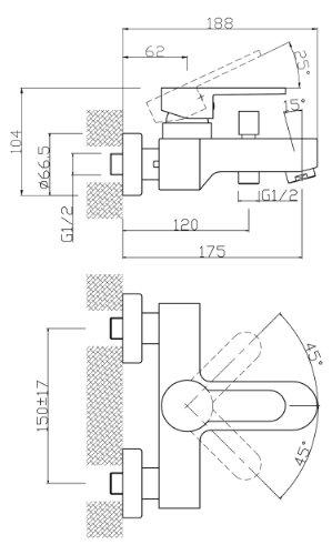 AquaSu – Badewannen-Einhandmischer Sanmix Style, Edelstahl Wasserhahn - 2