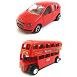 Combo Toys Of Indica Car And Double Decker Bus (Mini, Small Size) Toy For Kids | Pull Back And Go | Openable Doors | Red Color | Set Of 2 Toys