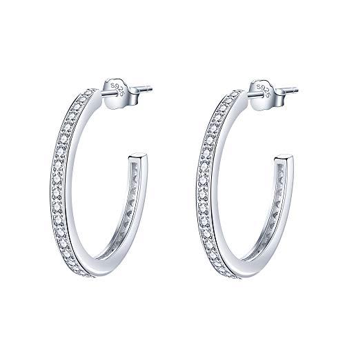 Lydreewam Creolen Damen Ohrringe Silber 925 mit 3A Cubic Zirkonia, Durchmesser 23mm