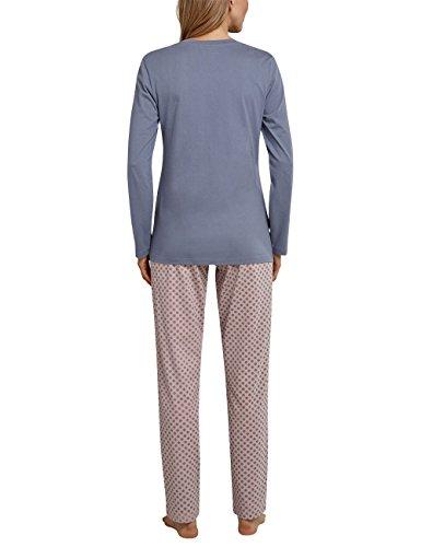 Schiesser Damen Zweiteiliger Schlafanzug Anzug Lang Grau (Graublau 209)