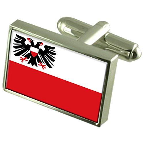 Stadt Lübeck Deutschland Fahne Manschettenknöpfe graviert Box